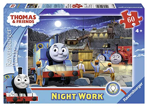 Ravensburger Thomas & Friends Night Work Glow-in-The-Dark 60 Piece Jigsaw Puzzle for Kids – Every Piece is Unique, Pieces Fit Together Perfectly -