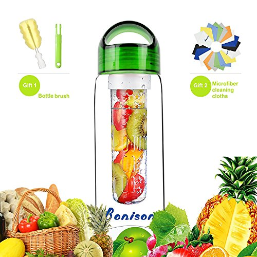 Green 23 OZ Sport Bottle Tritan Fruit Infuser Water Bottle,school bottle, Leak Proof,With Handle,for Fruit, Juice, Iced Tea, Lemonade & Sparkling Beverages-with 2 Gifts-Clearance Sale