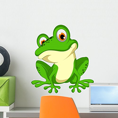 Wallmonkeys FOT-79998521-18 WM362635 Funny Green Frog Cartoon Sitting Peel and Stick Wall Decals (18 in H x 16 in W), Small (Frog Green Sitting)