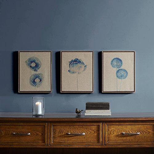 Madison Park Blue Print Botanicals Framed Floral Canvas Wall Art 11X14, TransitionalPrint Blue Wall Décor