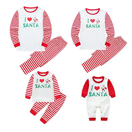 BOBORA Matching Christmas Pajamas for Family with Baby, Stripes Sleepwear ()