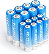 REACELL 16 Sets AA AAA Batteries Combo with 8-Pack High Capacity 2800mAh AA and 8-Pack 1100mAh AA...
