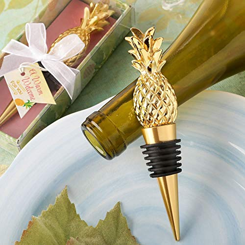 (Pineapple Themed Gold Wine Bottle Stopper, 1)