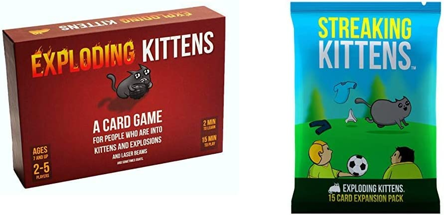 Exploding Kittens Card Game - Family-Friendly Party Games - Card Games for Adults, Teens & Kids & Streaking Kittens: This is The Second Expansion of Exploding Kittens