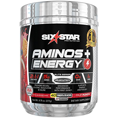 Six Star Aminos Plus Energy, BCAA Powder, Fruit Punch, 40 Servings, 277 Gram