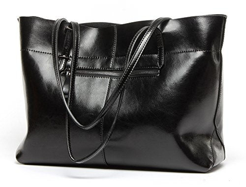 Sac à bandoulière en peau de vache pour femme véritable sac à bandoulière - orange, version noire, verticale