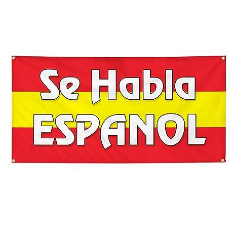 SE HABLA ESPANOL Advertising Vinyl Banner Flag Sign Many Sizes