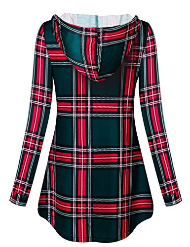 Luranee Sweatshirts for Women Hoodie Pullover, Plus Size Loose Fitting Flattering Buffalo Plaid Christmas Tops Casual Hooded Long Sleeve Tunic Shirts for Leggings Stretchy Knits Wear 2XL