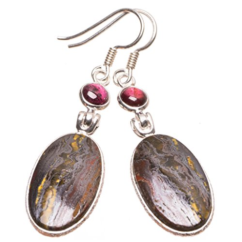 StarGems(tm) Natural Iron Tiger Eye and Amethyst Handmade Unique 925 Sterling Silver Earrings 2