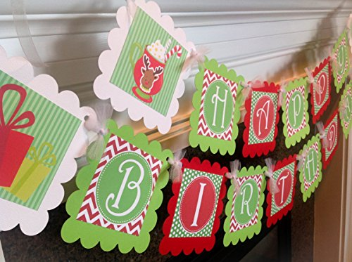 - Christmas Mugs Happy Birthday Banner - Red Chevron, Lime Green Polka Dots and Stripes & White Accents - Party Packs Available