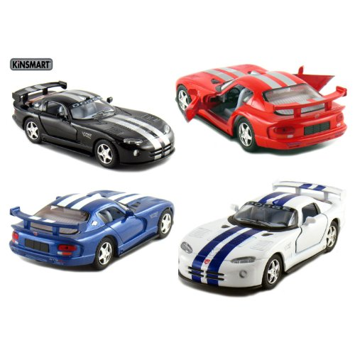 "Set of 4: 5"" Dodge Viper GTSR 1:36 Scale (Black/Blue/Red/White) by Kinsmart"