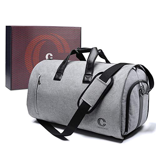 - Crospack 2019 UPGRADE 22 inch Garment Bag Suit Travel Bag with Shoulder Strap 2 in 1 Hanging Suit Travel Bags for Men Duffle Garment Bags Carry on Suit Carrier Travel Bag Foldable Flight Bag GRAY