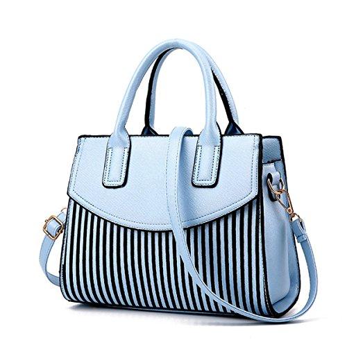 design à cuir 2018 en élégant sac haut rayé PU nouvelles de Ciel rayé LUXIAO main femmes à Bleu sac mode la bandoulière OpPx7n