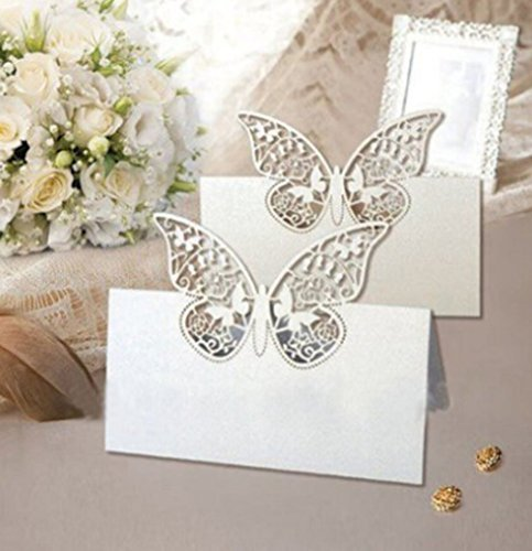 er Cut Butterfly Vine Wedding Table Number Name Place Card Wedding Party Decoration Favor (Vine Place Card)