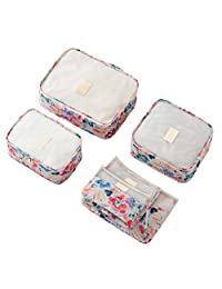 THEE 6 Pieces Travel Luggage Pack Organizers Packing Bag Storage Toiletry Cosmetic Mesh Bag Set