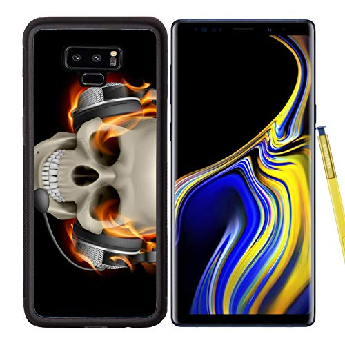 Samsung Galaxy Note9 Case Aluminum Backplate Bumper Snap Case Image ID: 13444537 Flaming Skull with Headphones Illustration on Black Background