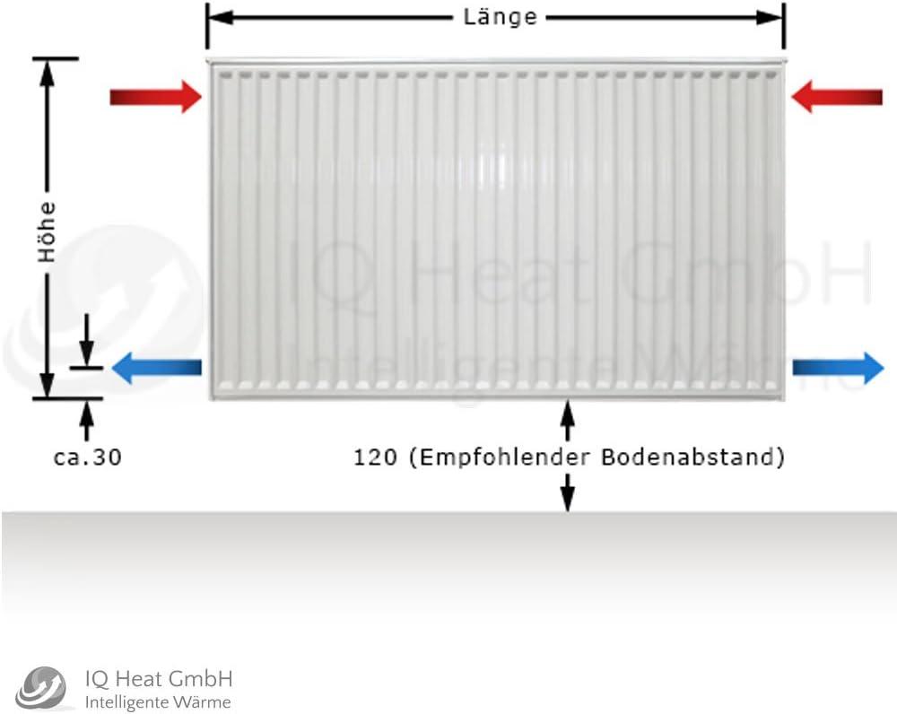 BL: 2300 mm Buderus Logatrend Kompakt-Flachheizk/örper C-Profil Typ 33 BH 300 vers L/ängen Halter