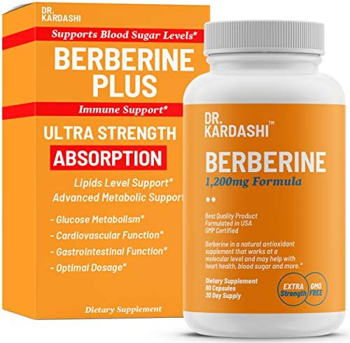 Dr. Kardashi Premium Berberine Capsules – 1200mg – Advanced Berberine HCL Supplement Supports Glucose Metabolism, Cardiovascular Heart, Gastrointestinal Health and Immune Function – 60 Capsules