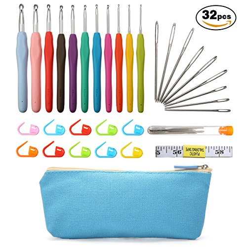 ARTISTORE Crochet Hooks Set with Case, Ergonomic Rubber Handle - Large-Eye Aluminum Blunt Needles - Knitting Needle for Arthritic Hands, Comfortable Handles, 30 pcs Accessories - Best Gift!