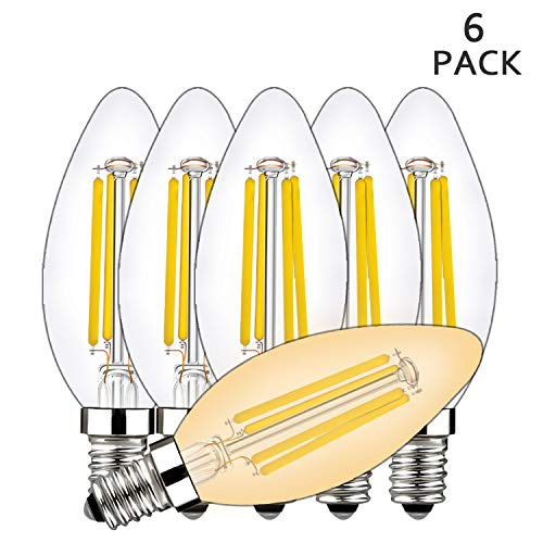 4W Candelabra Led Light Bulbs, BRIMAX E12 Base Ceiling Fan Light Bulb 40W Equivalent, Chandelier C35 B10/B11 Led Edison Filament Candle Bulbs, 2700K Warm White, 400LM, Torpedo Shape, -
