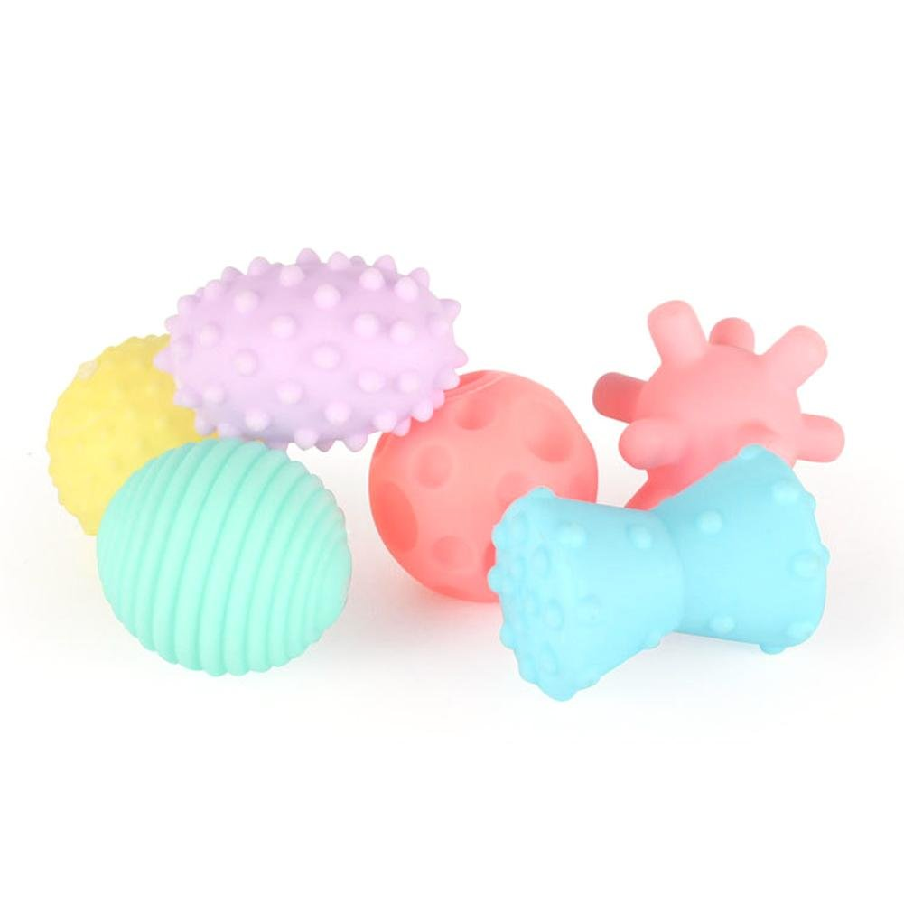 Purebesi 6PCS Hand Catching Massage Ball Multi-Texture Teether Toy Bath Toy Set for Babies Funny Sensory Ball Baby Hand Catch Massage Sensory Ball