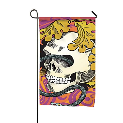 (WilBstrn Garden Flag Set for Outdoors - 12x18 inch Flags | Fade Resistant - Double Sided-Human Skull Entwined by Snake)