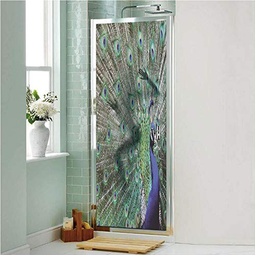 (Peacock 3D No Glue Static Decorative Privacy Window Films, Peacock Displaying Elongated Majestic Feathers Open Wings Picture,24