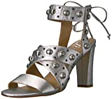The Fix Women's Dawson Stud Heel Dress Sandal,Matte Silver/Metallic,8.5 B US