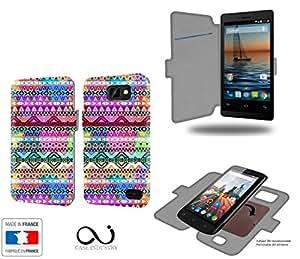 Caso de Listo SP401 Aztec Colors Tribal Collection Patternde almacenamiento innovadoras con tarjeta de la puerta interna - Estuche protector de Listo SP401 con fijación adhesiva reposicionable 3M
