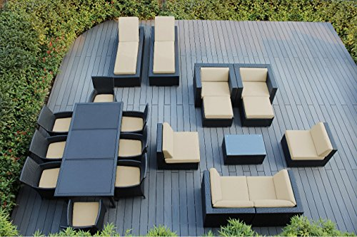 Ohana 20-Piece Outdoor Patio Furniture Sofa, Dining and Chaise Lounge Set, Black Wicker with Sunbrella Antique Beige Cushions - Free Patio Cover ()