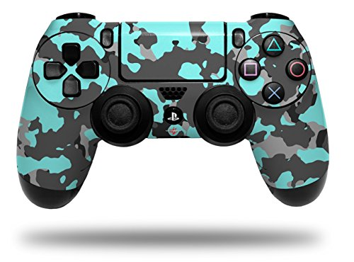 Vinyl Skin Wrap for Sony PS4 Dualshock Controller WraptorCamo Old School Camouflage Camo Neon Teal (CONTROLLER NOT ()