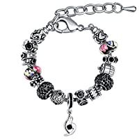 MANBARA Family Themed Charm Bracelet with Engraved Beads