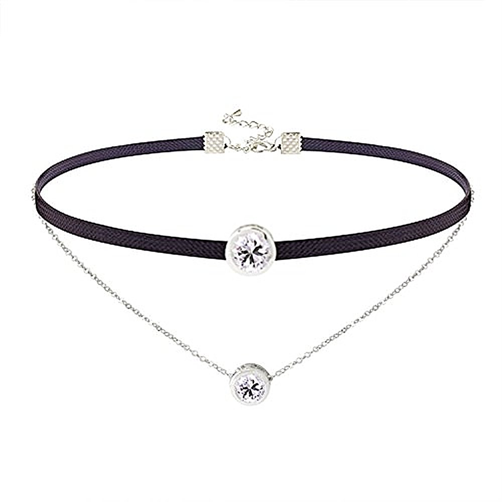 LOCHING Personality Elastic Black Cord Necklace Double Chain Necklaces Inlaid Zircon 925 Silver Double Collar Necklaces