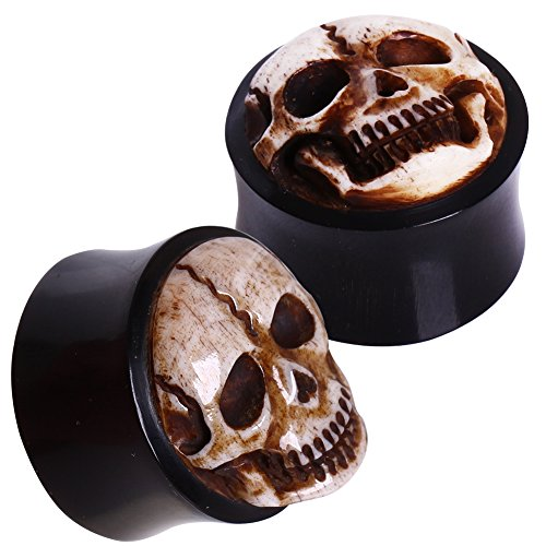 Pair of 00 Gauge (10mm) Double Flared Horn Plugs with Bone Skull Inlay H07-036 (Horn Double Flared Plugs)