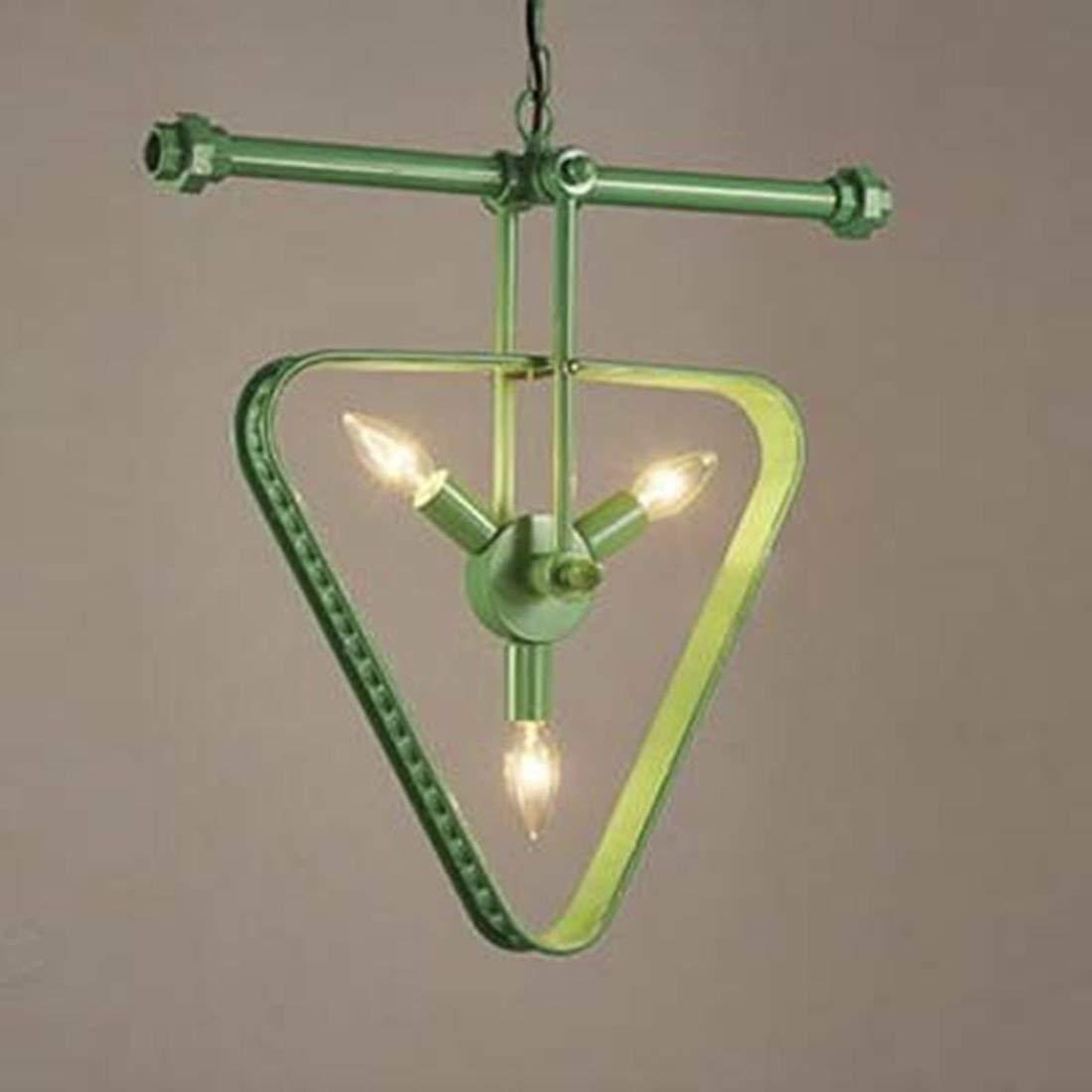 FDA3H   Retro Deckenleuchte Pendelleuchte Dreieck mit 3 Sockel Grün für Restaurant Esszimmer Halle Cafe Bar Loft Küche geformt