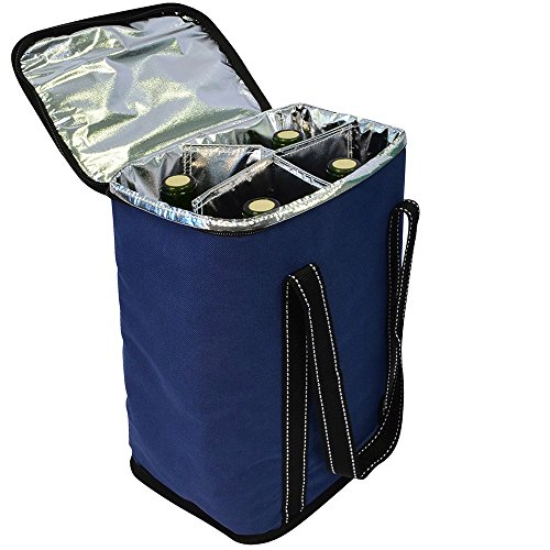 - Vina 4 Bottle Wine Carrier - Travel Insulated Wine Carrying Case Cooler Tote Bag with Detachable Divider and Adjustable Strap, Great for Picnic, Beach Days,Party, Blue