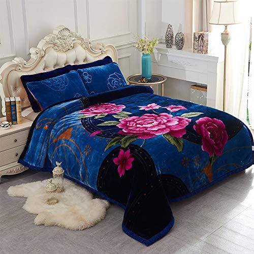 JML Heavy Korean Style Mink Fleece Blanket – 10lb 2 Ply Soft Thick Plush Bed Blanket for Autumn Winter(Rose/Blue, King)