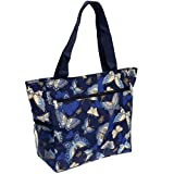 Women's Beach Shopper Tote Bag (Blue Butterfly)