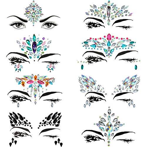 Maxdot 8 Sheets Rhinestone Face Gems Sticker Face Jewels for Face Decorations (Pattern Set 2) ()
