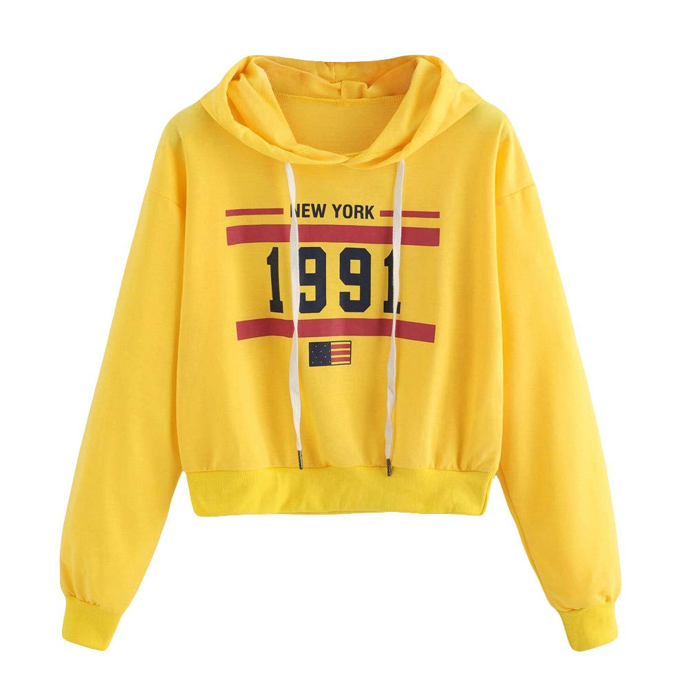 Zackate Womens Long Sleeve Cropped Hooded Sweatshirt Letters Printed Hoodie Causal Sporty Tops Blouse