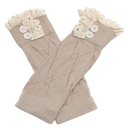 Cotton Leg Warmers Socks,Hemlock Girl's Straight Leg Socks Boot Cuffs (Khaki)