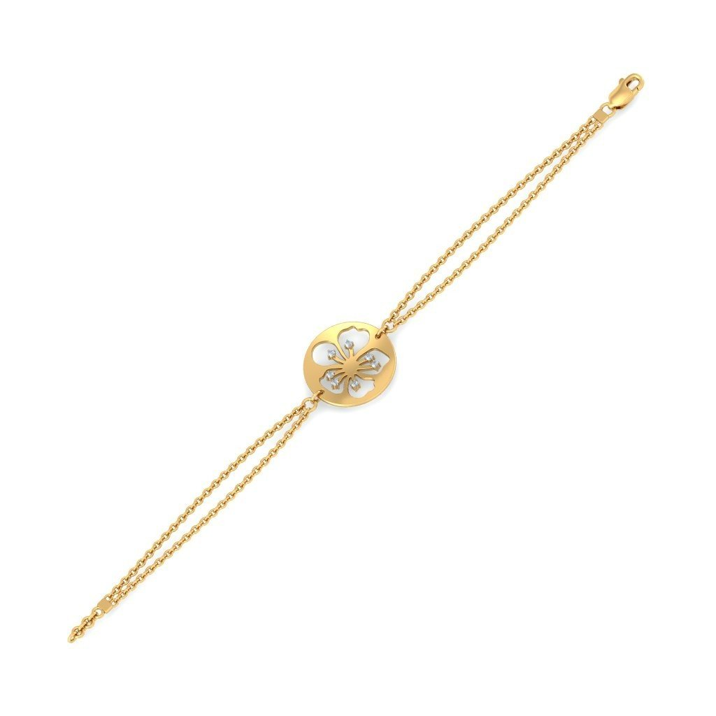 identification-bracelets Size 14K Yellow Gold 0.105 cttw Round-Cut-Diamond 6.75 inches HallMarked IJ| SI