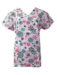Christmas Scrub Tops Holiday Prints Sizes XS-4XL Medical Nursing NWT
