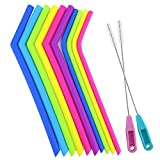Tomnk Reusable Silicone Drinking rubber Straws, Extra Long Flexible Straws with Cleaning Brushes - for 20 30 oz Tumblers RTIC/Yeti - 12Pieces - BPA Free