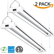 Sunco Lighting 2 PACK - ENERGY STAR, ETL 4ft 40W LED Utility Shop Light 4000lm 120W Equivalent, Double Integrated LED Fixture, 5000K Daylight Ceiling Light, Garage/Basement/Workshop, Linkable, Frosted