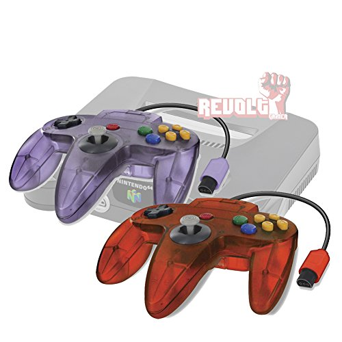 Original Style N64 Wired Controller Gamepad 2 Pack for Nintendo N64 Video Game Console (Flame/Purple)