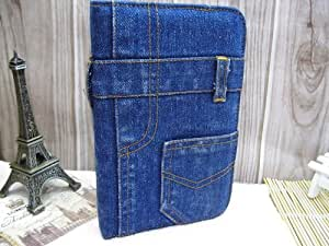 HM-ANT(TM) Cool Fashion Cowboy Jeans Pocket Stand Leather Case Cover for Samsung Galaxy Tab 3 7.0 P3200 (Blue)