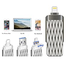 2017 Newest All Metal 64GB Waterproof OTG i Flash drive,USLAIYU HD Pendrive Memory USB3.0 Sticks External Storage Devices For iPhone,iPad,Android Cellphones Tablets,Computers with Lightning Connector,Micro USB connector and USB 3.0 Connector