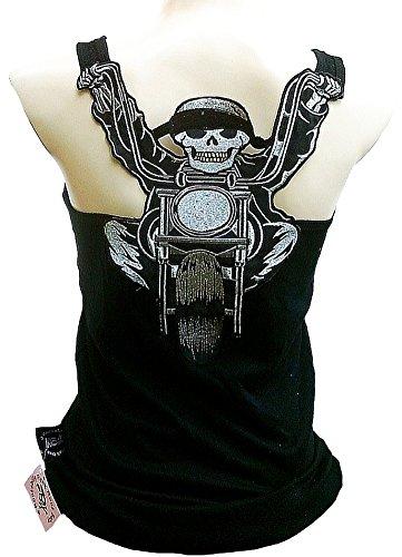 Rockabilly Punk Rock Baby Woman Black Tank Top Shirt Harley Biker Skull XL