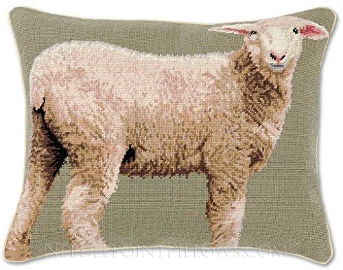 Handmade 100% Wool Decorative Barn Nature Shepard Needlepoint Farm Animal Ranch Sheep Throw Pillow. 16